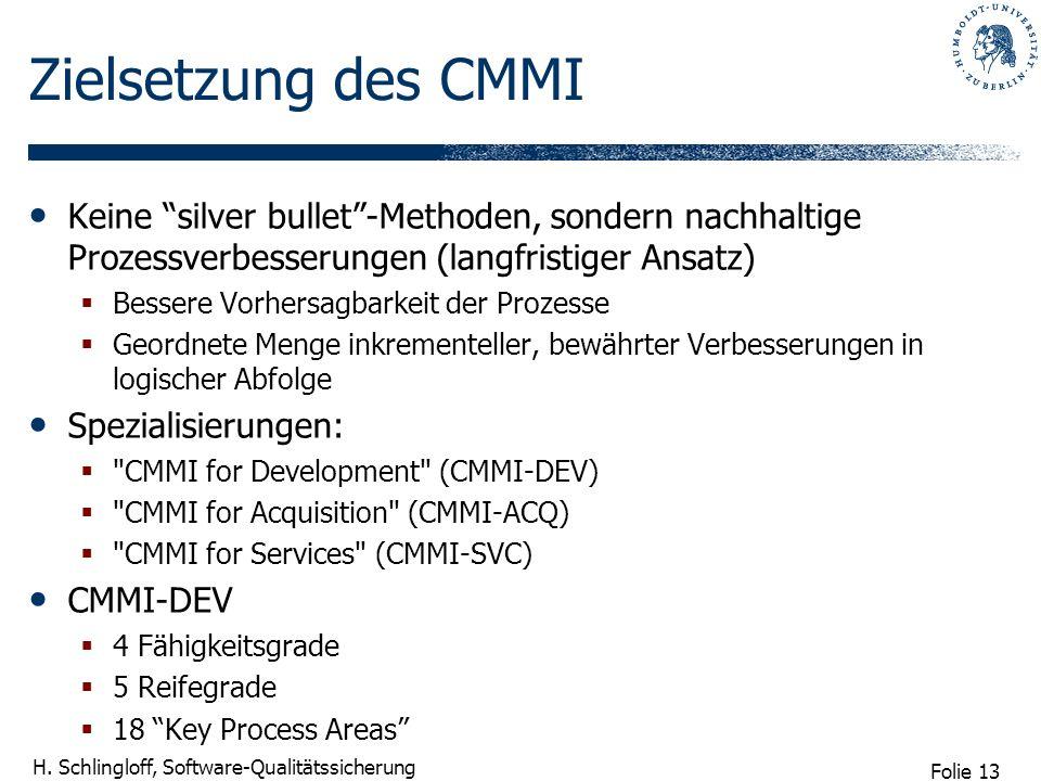 Zielsetzung des CMMI Keine silver bullet -Methoden, sondern nachhaltige Prozessverbesserungen (langfristiger Ansatz)