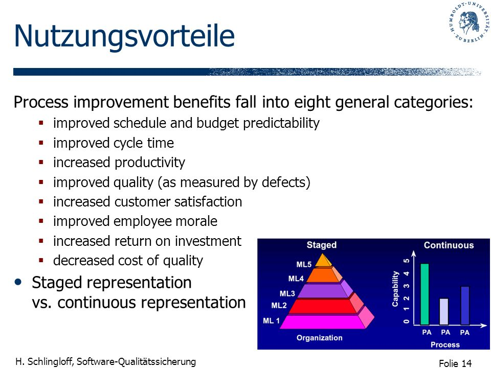 Nutzungsvorteile Process improvement benefits fall into eight general categories: improved schedule and budget predictability.