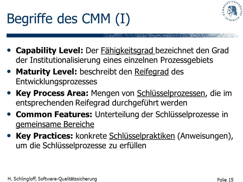 Begriffe des CMM (I) Capability Level: Der Fähigkeitsgrad bezeichnet den Grad der Institutionalisierung eines einzelnen Prozessgebiets.