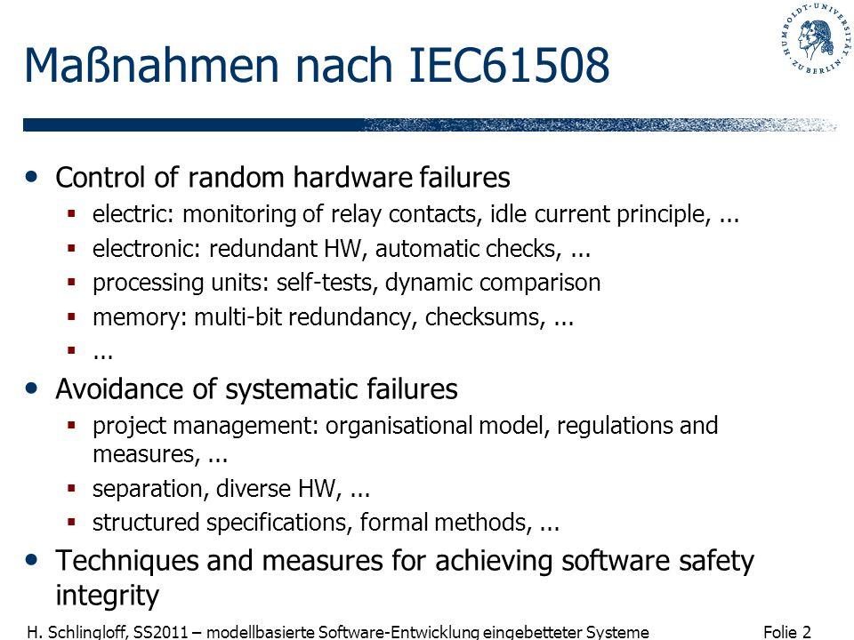 Maßnahmen nach IEC61508 Control of random hardware failures