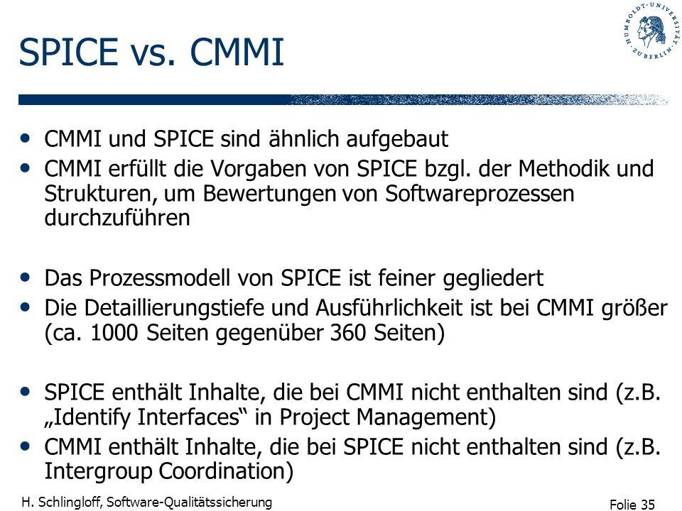 SPICE vs. CMMI CMMI und SPICE sind ähnlich aufgebaut