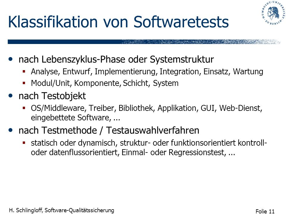 Klassifikation von Softwaretests