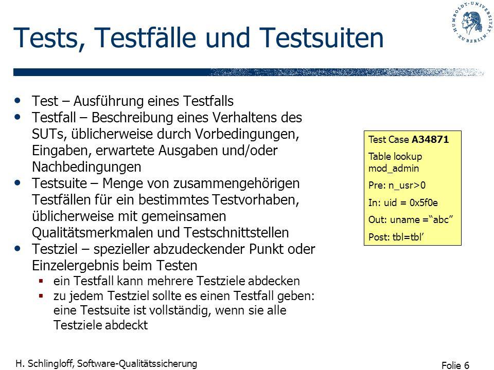 Tests, Testfälle und Testsuiten