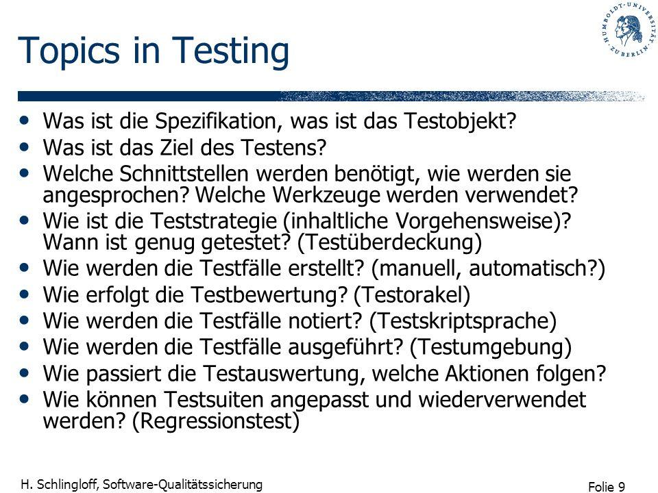 Topics in Testing Was ist die Spezifikation, was ist das Testobjekt