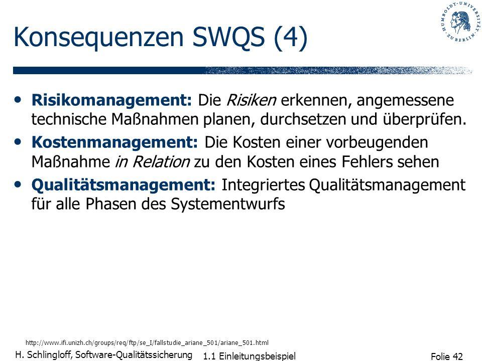 Konsequenzen SWQS (4) Risikomanagement: Die Risiken erkennen, angemessene technische Maßnahmen planen, durchsetzen und überprüfen.