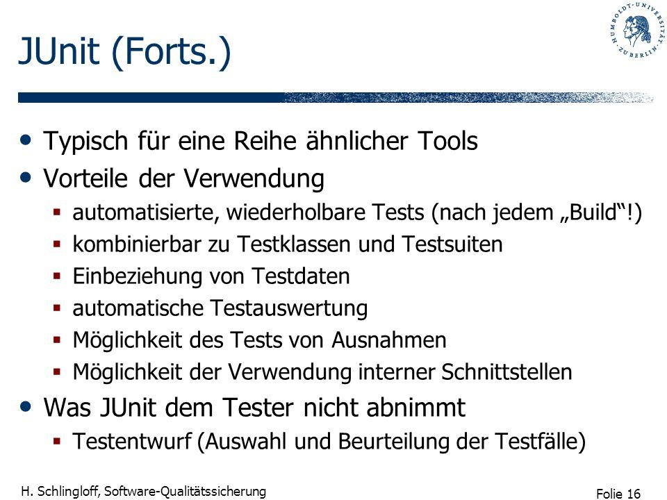 JUnit (Forts.) Typisch für eine Reihe ähnlicher Tools