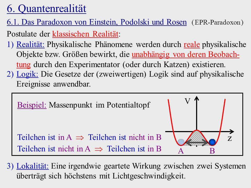 6. Quantenrealität 6.1. Das Paradoxon von Einstein, Podolski und Rosen ( EPR-Paradoxon ) Postulate der klassischen Realität: