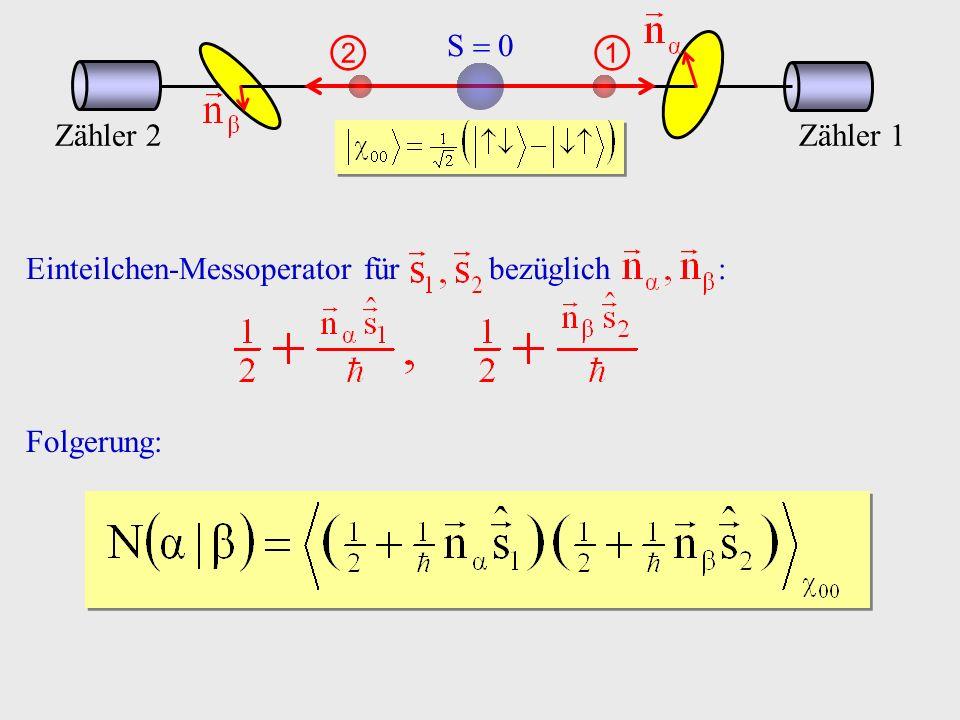 S  0 00. ①. ②. Zähler 1. Zähler 2. Einteilchen-Messoperator für bezüglich :