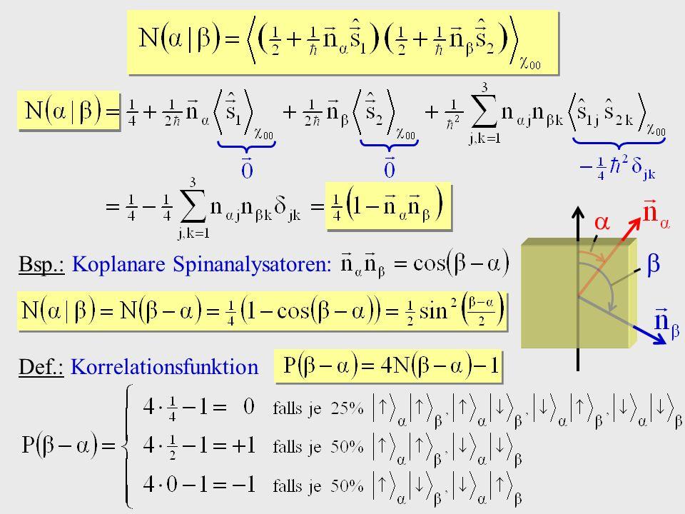   Bsp.: Koplanare Spinanalysatoren: Def.: Korrelationsfunktion