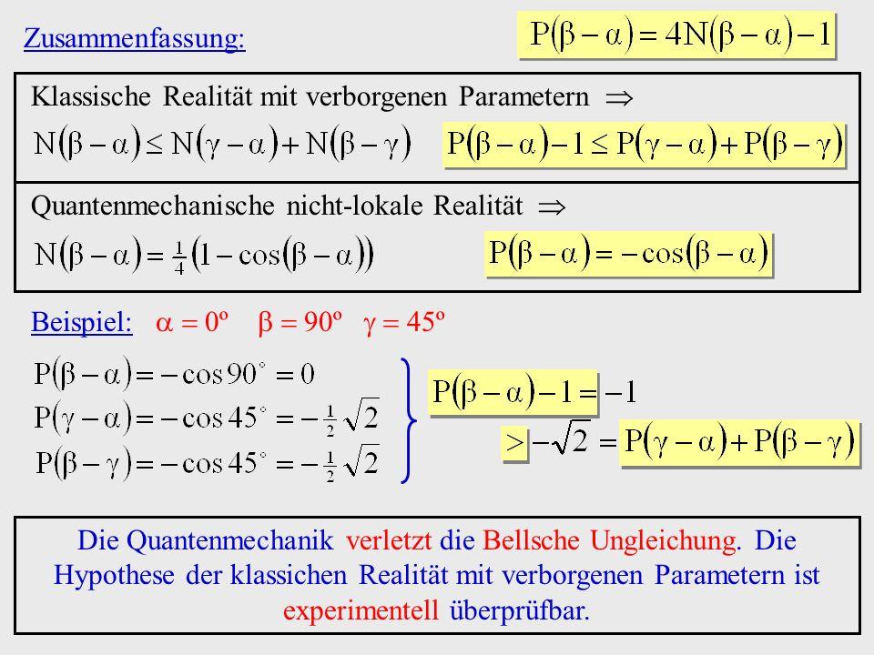 Zusammenfassung:Klassische Realität mit verborgenen Parametern  Quantenmechanische nicht-lokale Realität 