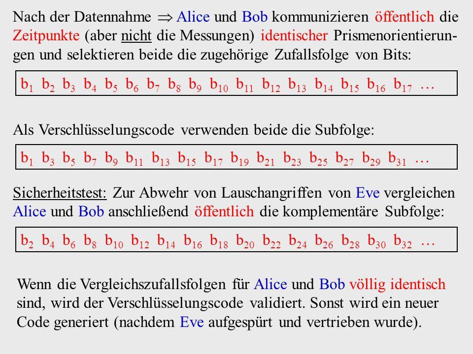 Nach der Datennahme  Alice und Bob kommunizieren öffentlich die Zeitpunkte (aber nicht die Messungen) identischer Prismenorientierun-gen und selektieren beide die zugehörige Zufallsfolge von Bits: