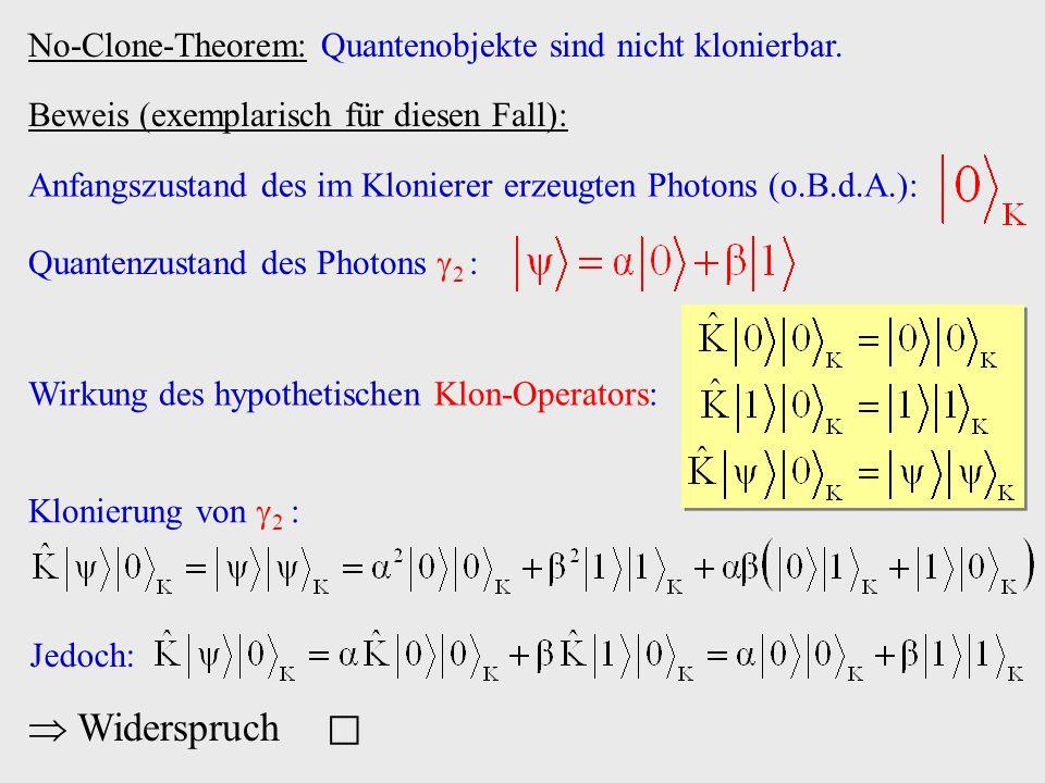 No-Clone-Theorem: Quantenobjekte sind nicht klonierbar.