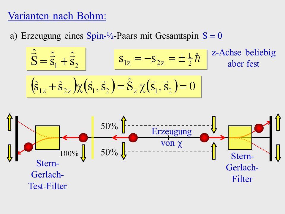 Varianten nach Bohm: Erzeugung eines Spin-½-Paars mit Gesamtspin S  0