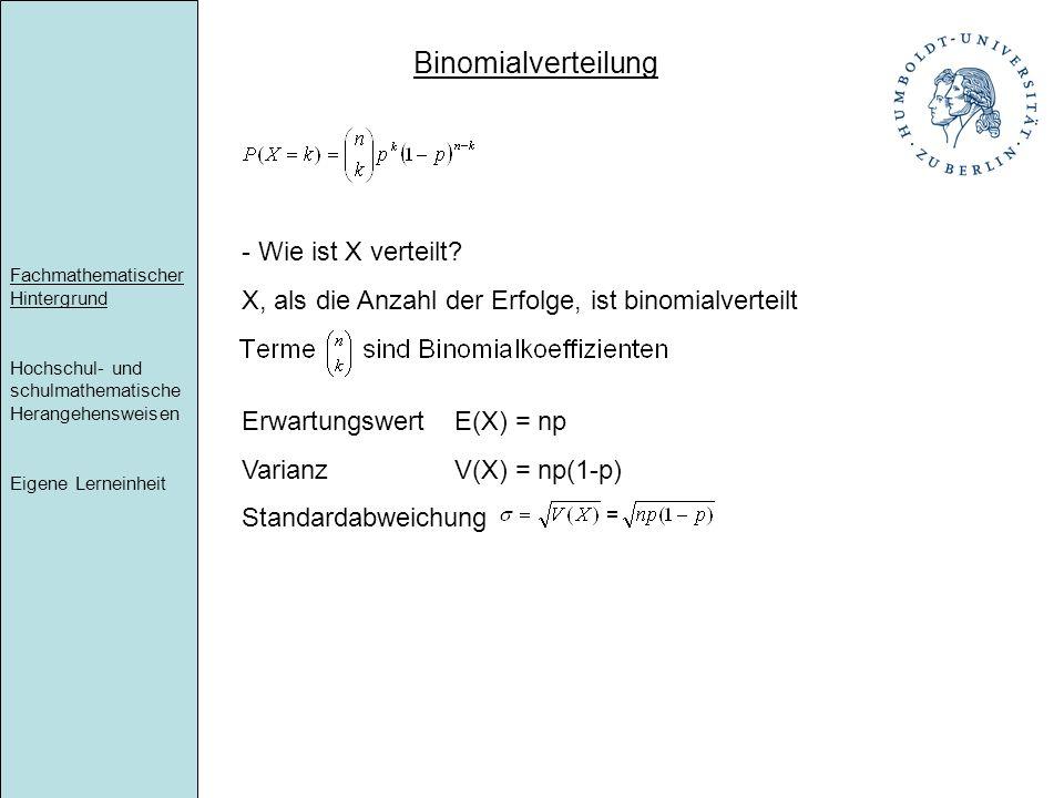 Binomialverteilung Wie ist X verteilt