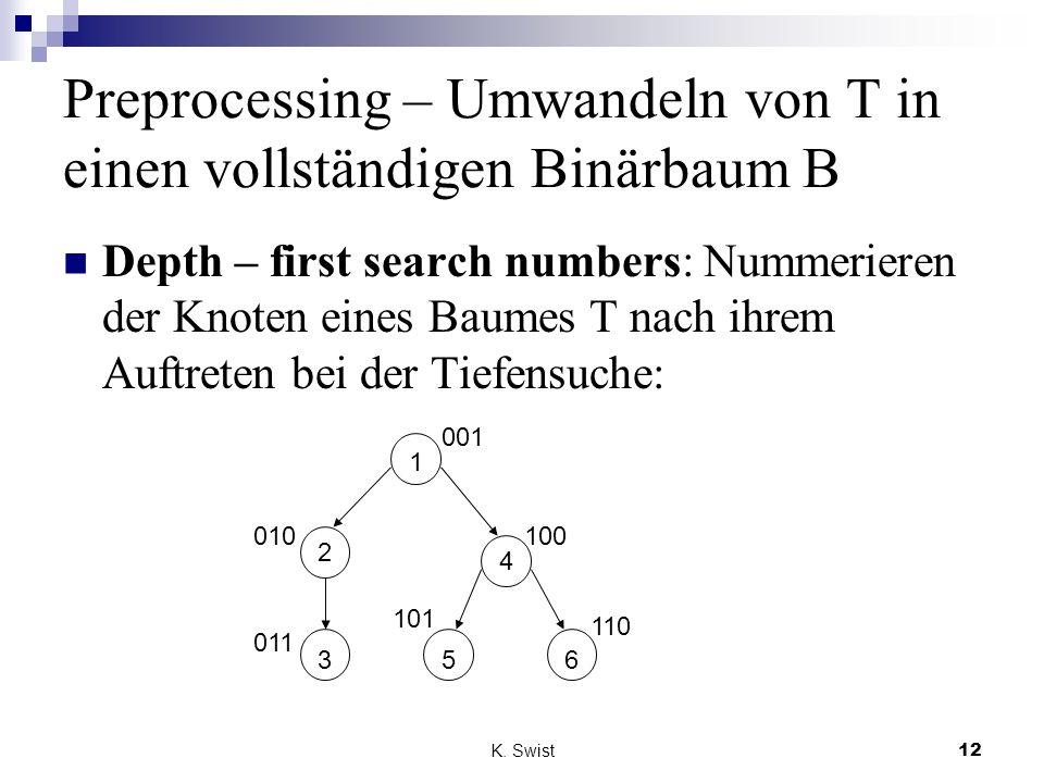 Preprocessing – Umwandeln von T in einen vollständigen Binärbaum B