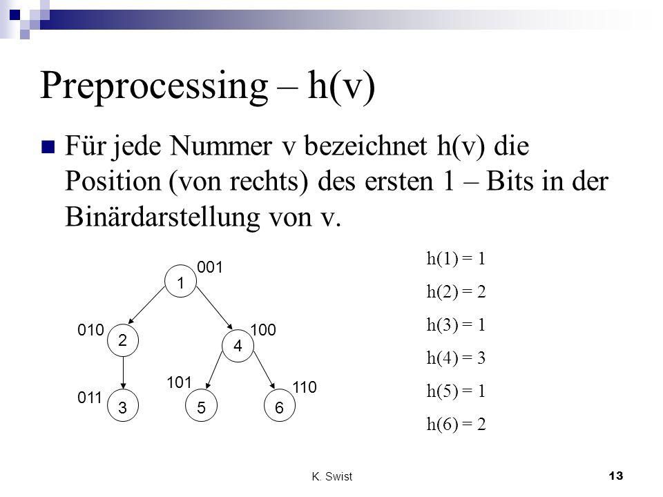 Preprocessing – h(v) Für jede Nummer v bezeichnet h(v) die Position (von rechts) des ersten 1 – Bits in der Binärdarstellung von v.