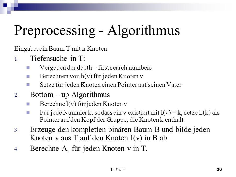 Preprocessing - Algorithmus