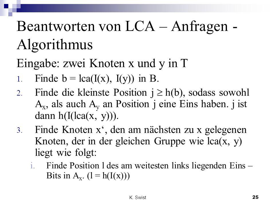 Beantworten von LCA – Anfragen - Algorithmus