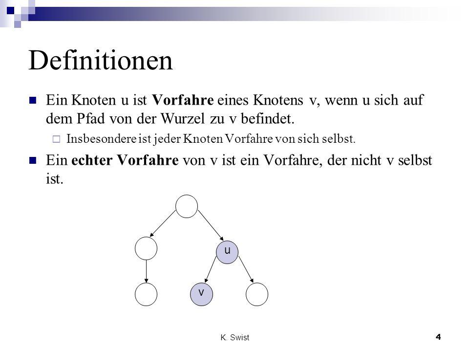 Definitionen Ein Knoten u ist Vorfahre eines Knotens v, wenn u sich auf dem Pfad von der Wurzel zu v befindet.