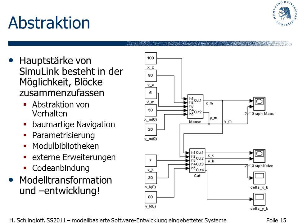 Abstraktion Hauptstärke von SimuLink besteht in der Möglichkeit, Blöcke zusammenzufassen. Abstraktion von Verhalten.