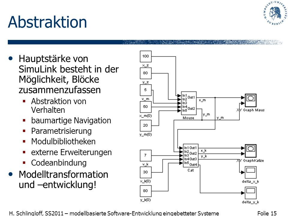 AbstraktionHauptstärke von SimuLink besteht in der Möglichkeit, Blöcke zusammenzufassen. Abstraktion von Verhalten.