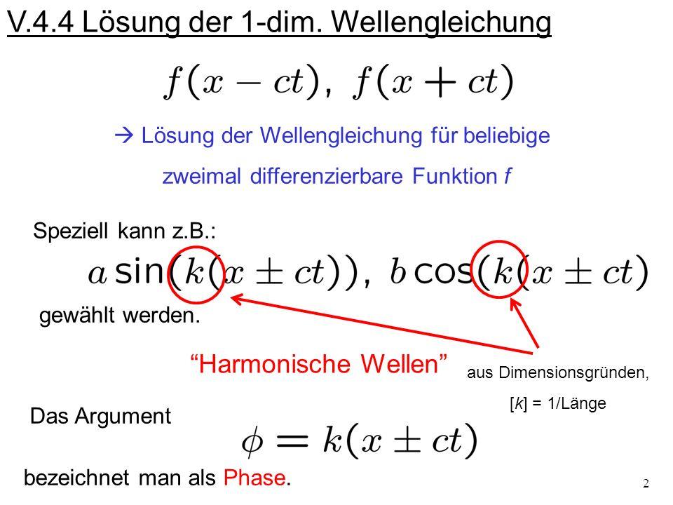 V.4.4 Lösung der 1-dim. Wellengleichung