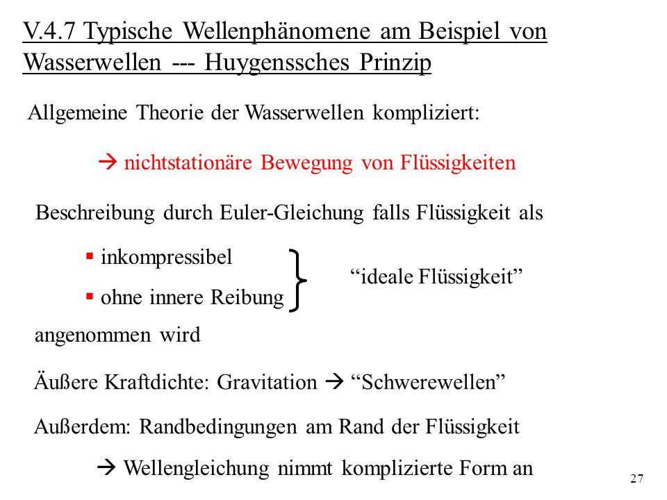 V.4.7 Typische Wellenphänomene am Beispiel von Wasserwellen --- Huygenssches Prinzip