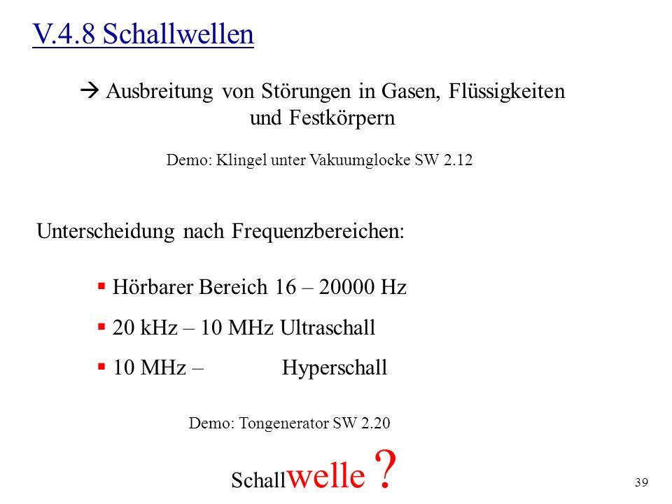V.4.8 Schallwellen Ausbreitung von Störungen in Gasen, Flüssigkeiten und Festkörpern. Demo: Klingel unter Vakuumglocke SW 2.12.
