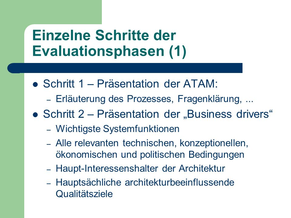 Einzelne Schritte der Evaluationsphasen (1)