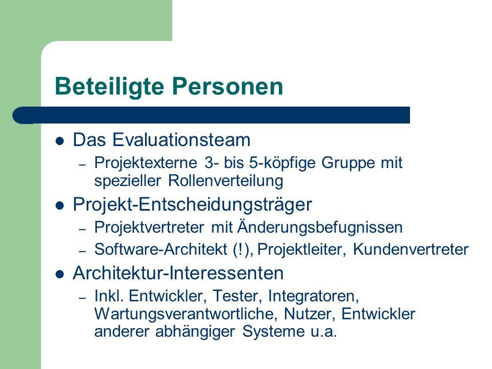 Beteiligte Personen Das Evaluationsteam Projekt-Entscheidungsträger