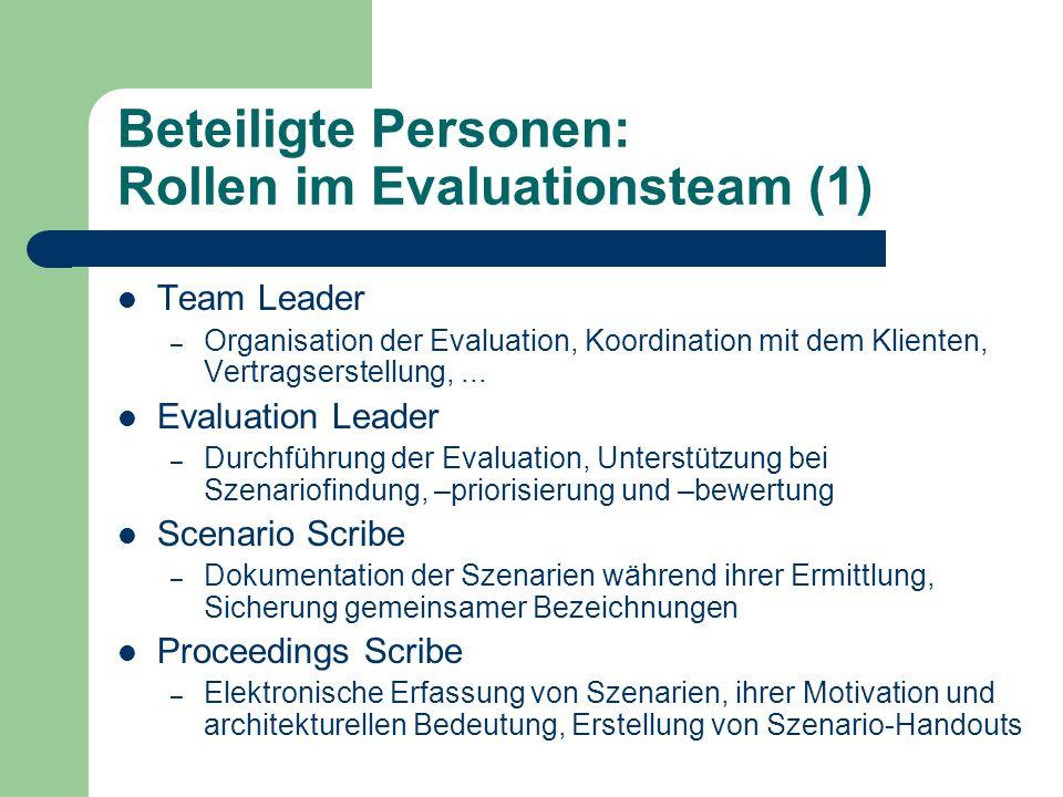 Beteiligte Personen: Rollen im Evaluationsteam (1)