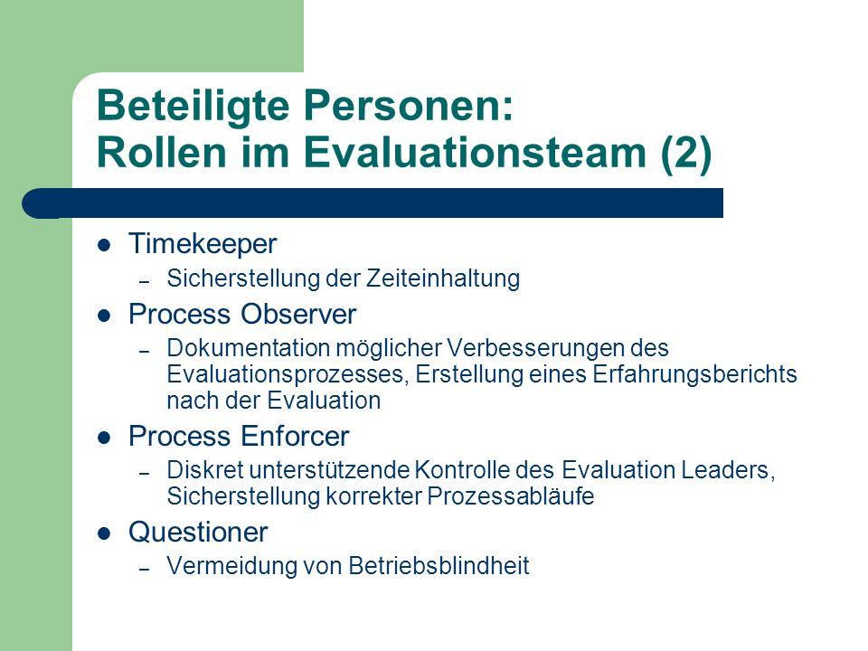 Beteiligte Personen: Rollen im Evaluationsteam (2)