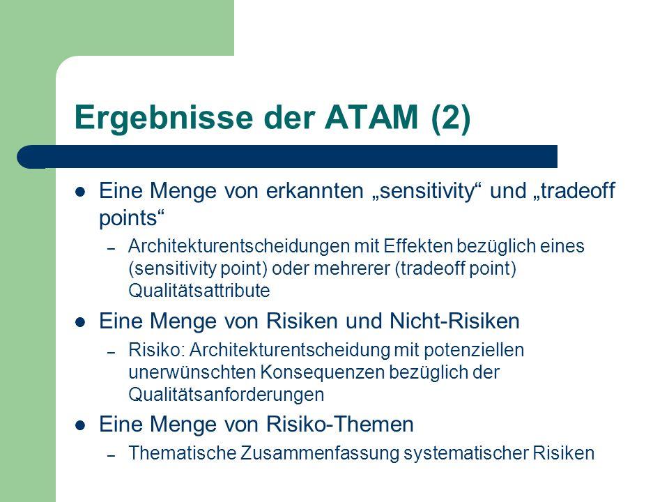 """Ergebnisse der ATAM (2) Eine Menge von erkannten """"sensitivity und """"tradeoff points"""
