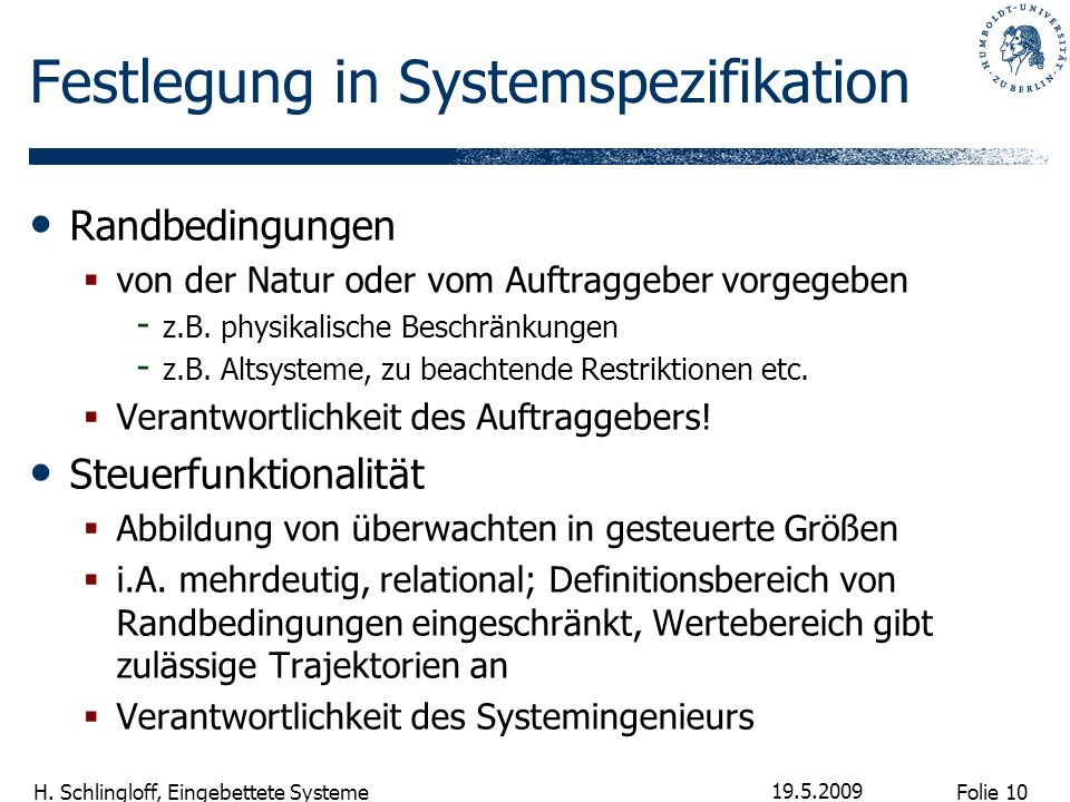 Festlegung in Systemspezifikation