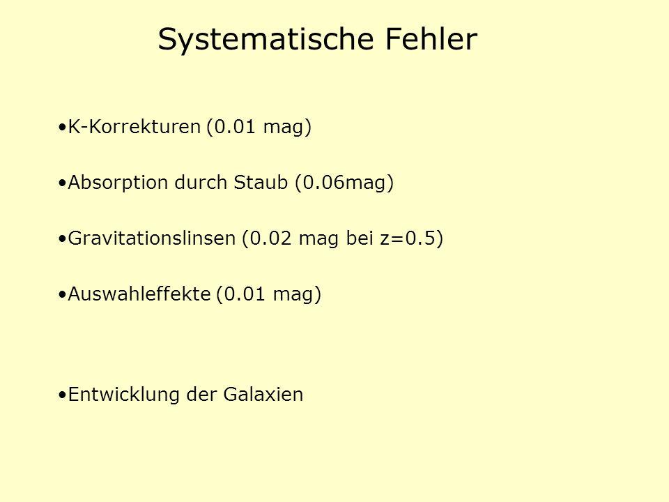 Systematische Fehler K-Korrekturen (0.01 mag)