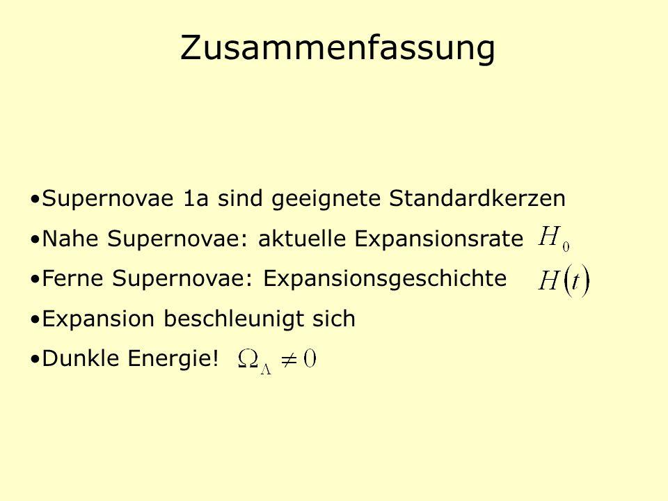 Zusammenfassung Supernovae 1a sind geeignete Standardkerzen