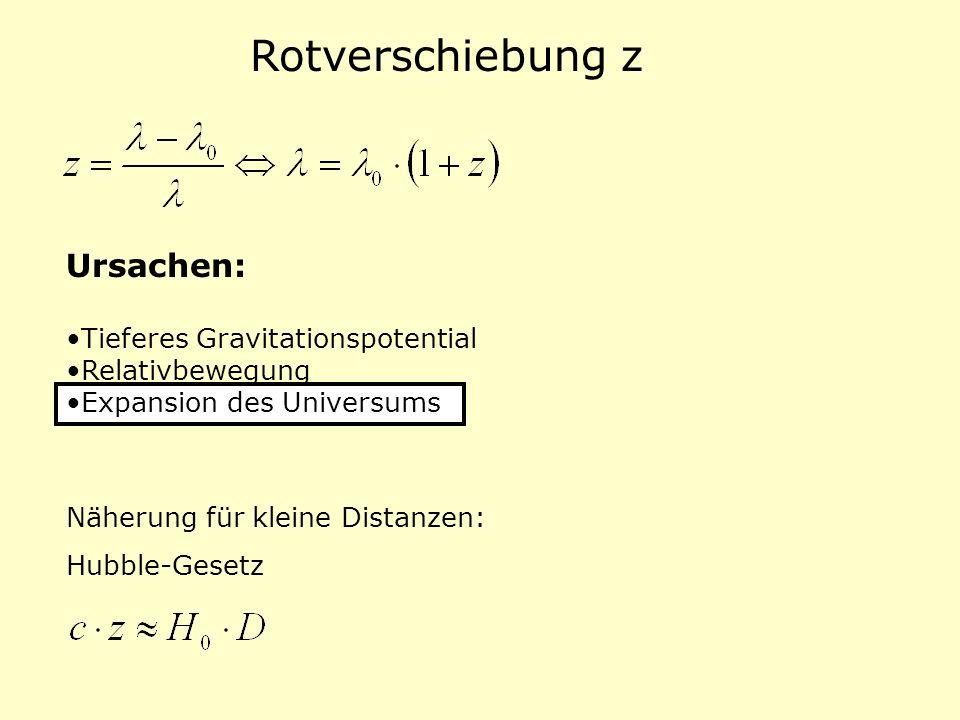 Rotverschiebung z Ursachen: Tieferes Gravitationspotential