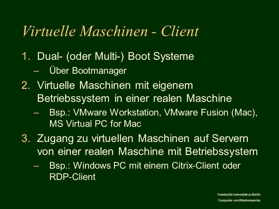 Virtuelle Maschinen - Client