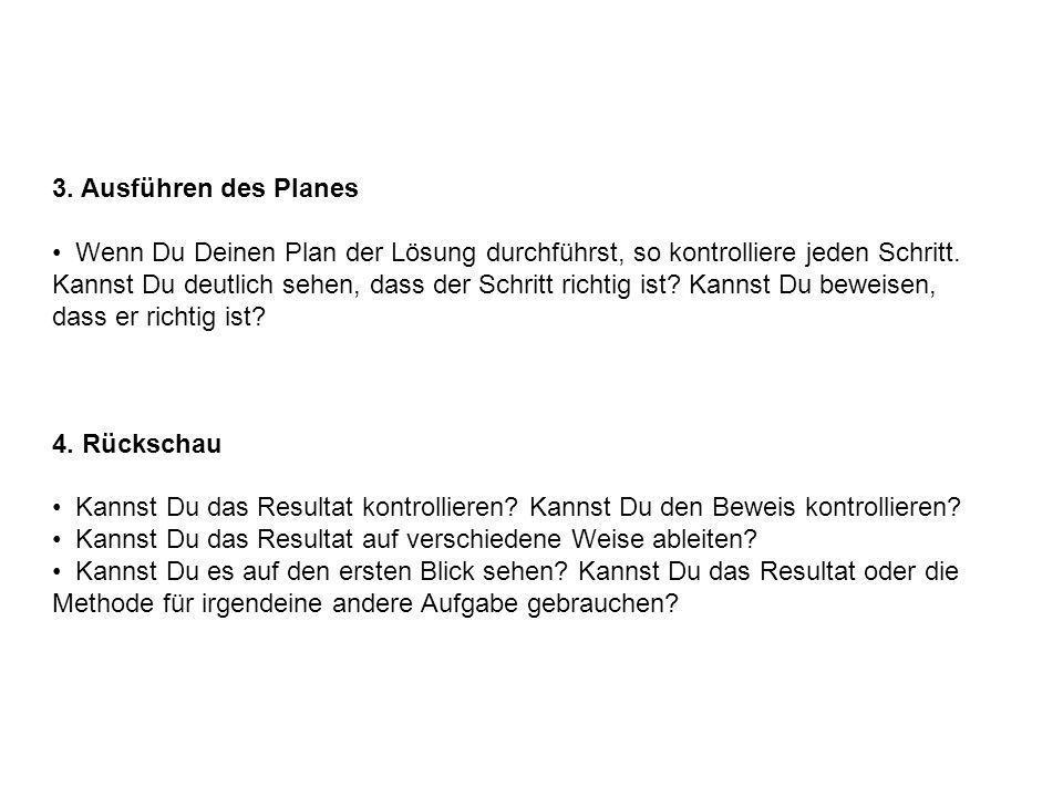 3. Ausführen des Planes