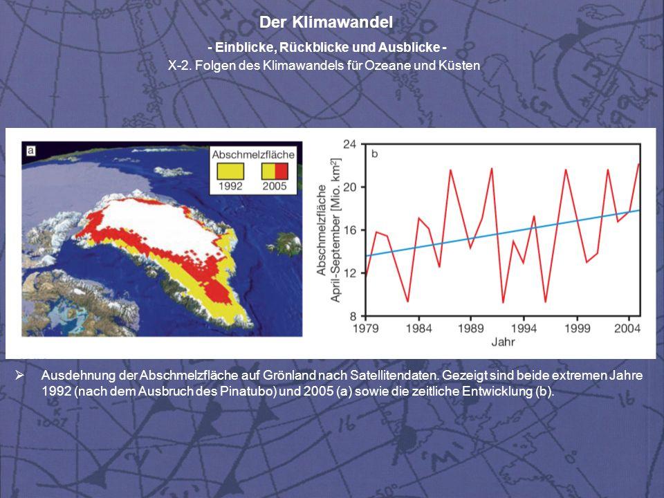 Ausdehnung der Abschmelzfläche auf Grönland nach Satellitendaten