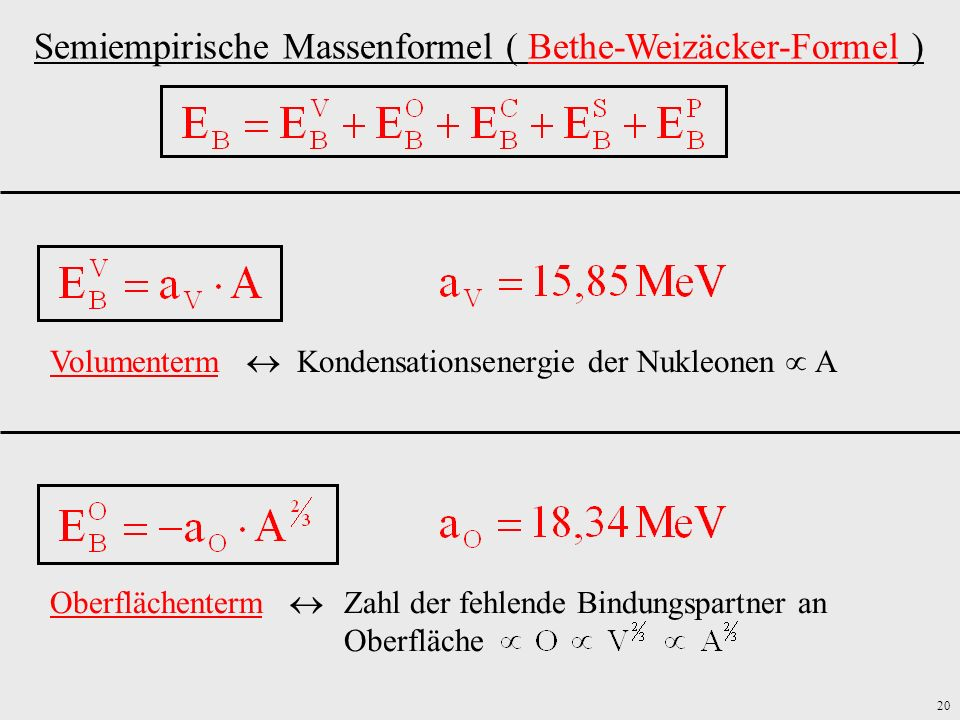 Semiempirische Massenformel ( Bethe-Weizäcker-Formel )