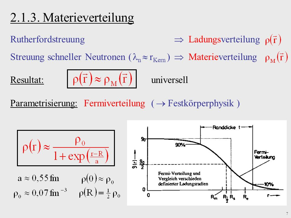 2.1.3. Materieverteilung Rutherfordstreuung  Ladungsverteilung
