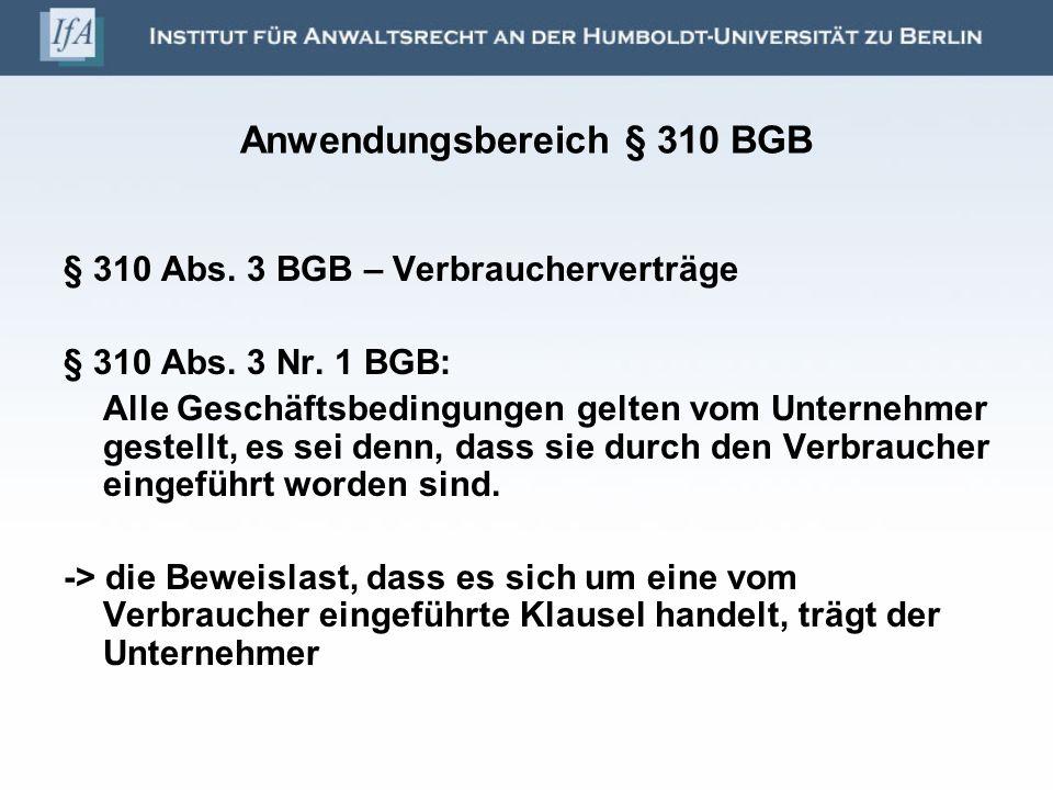 Anwendungsbereich § 310 BGB