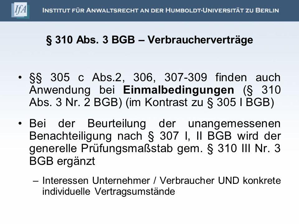 § 310 Abs. 3 BGB – Verbraucherverträge