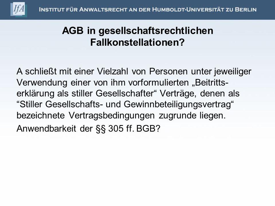 AGB in gesellschaftsrechtlichen Fallkonstellationen