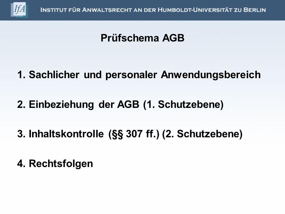 Prüfschema AGB 1. Sachlicher und personaler Anwendungsbereich. 2. Einbeziehung der AGB (1. Schutzebene)