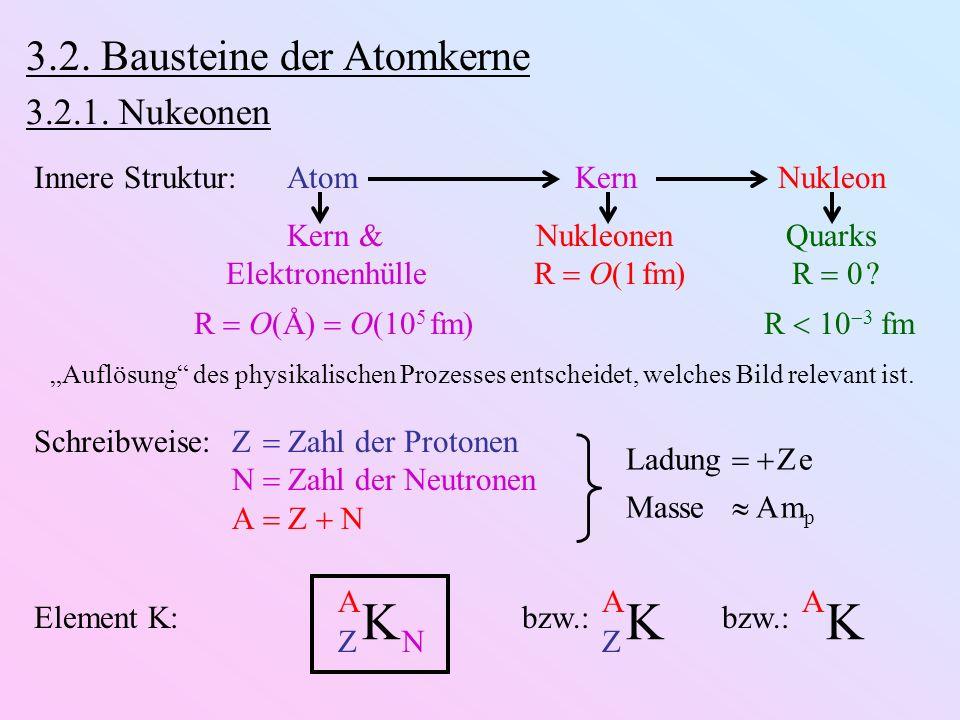 K K 3.2. Bausteine der Atomkerne 3.2.1. Nukeonen