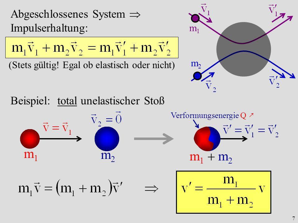 m1 m2 m1  m2 Abgeschlossenes System  Impulserhaltung: