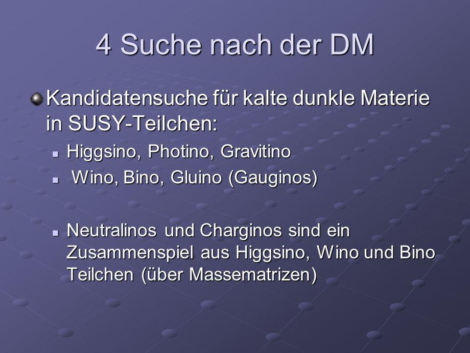 4 Suche nach der DM Kandidatensuche für kalte dunkle Materie in SUSY-Teilchen: Higgsino, Photino, Gravitino.