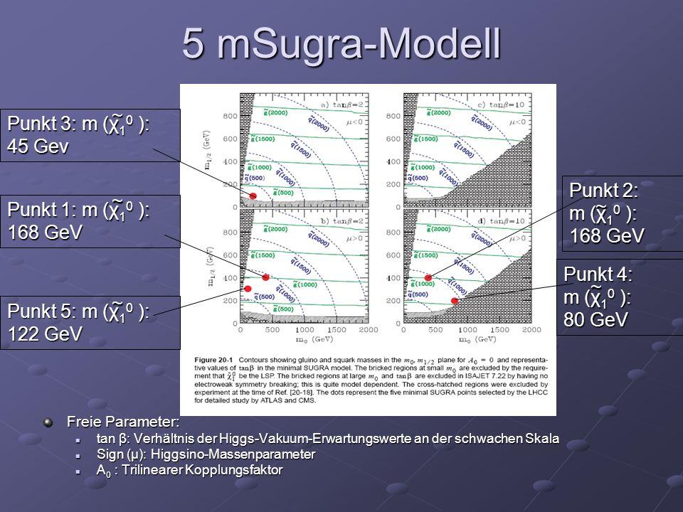 5 mSugra-Modell ~ Punkt 3: m (χ10 ): 45 Gev Punkt 2: ~ m (χ10 ): ~